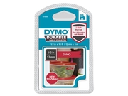 Tape DYMO Durable D1 12mm Vit på röd